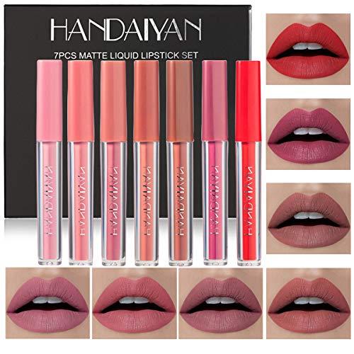 7 Colors Matte Liquid Lipstick Makeup Set, Matte Velvety Long-Lasting Wear Non-Stick Cup Not Fade Waterproof Lip Gloss (7PCS)