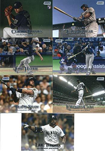 - 2019 Topps Stadium Club Baseball Milwaukee Brewers Team Set of 11 Cards: Christian Yelich(#87), Corbin Burnes(#104), Orlando Arcia(#124), Ryan Braun(#136), Josh Hader(#144), Jesus Aguilar(#160), Eric Thames(#171), Lorenzo Cain(#172), Robin Yount(#182), Travis Shaw(#196), Mike Moustakas(#228)