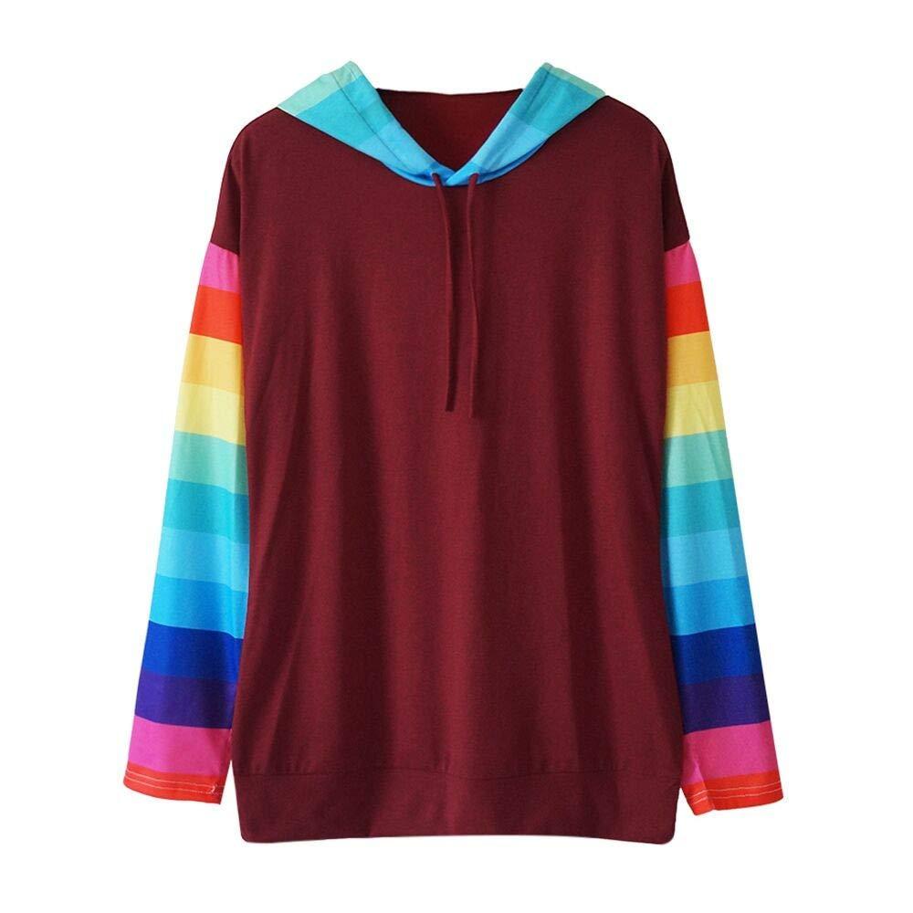 Kapuzenpullover Damen Patchwork Sweatshirt Langarmshirt Frauen Beilä ufige Bluse Farbblock Streifen Oberseiten mit Kapuze Sweatshirt ABsoar