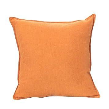 La almohada Color sólido lino de algodón brillante amarillo ...