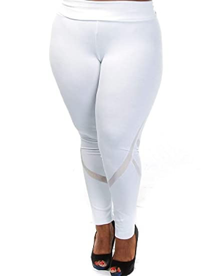 fe8c6f97c24684 Amazon.com: Workout Yoga Leggings Women Activewear Mesh TrousersGym Running  Long Pants Training Tights White M: Clothing