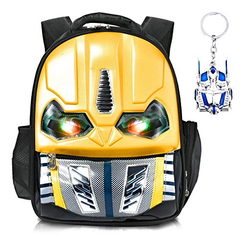 Skootz 3D Waterproof Transformers Bumblebee Backpack | Flashing Eyes When Pressed | Great For Boys & Girls In Elementary School | Free Bumble Bee Toy Keychain