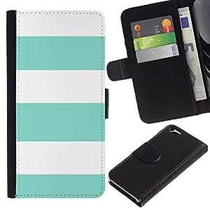 Paccase / Billetera de Cuero Caso del tirón Titular de la tarjeta Carcasa Funda para - Teal Summer White Lines Pattern Sun - Apple Iphone 6 4.7