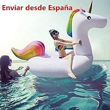 Meiqils Juguete Hinchable Flotante Gigante del Unicornio Piscina Cama Flotante Unicornio General y Adulto y Anillo