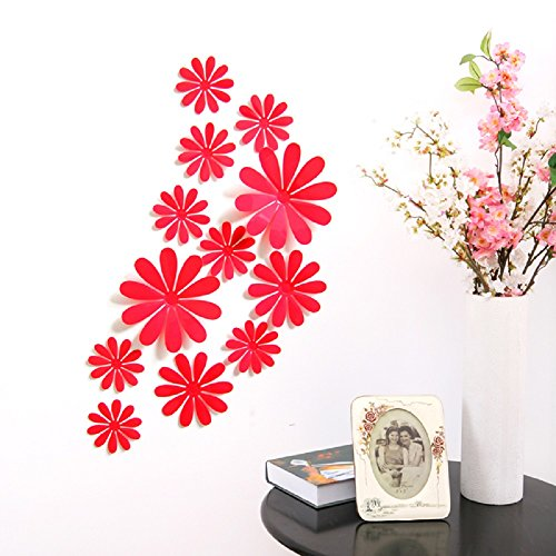 (Amaonm 24 PCS Cute 3D DIY Flowers Wall Decals Removale Home Art Decor Flowers Wall Stickers Murals for Kids Girls Room Bedroom Weeding Party Birthday Shop Windows Decorations (Red))