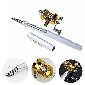 Dealzip Inc 38inch Mini Portable Pocket Aluminum Alloy Fishing Rod Rack Pen and Reel Combos