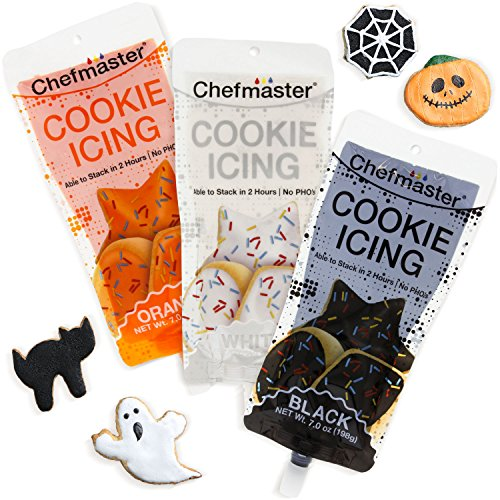 U.S. Cake Supply 3 Color Cookie Icing Halloween Theme Pack - 7 Ounce Ready To Use Decorating Pouches - Black, Orange, White