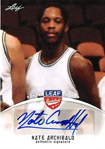 Autographed Archibald Basketball (Nate Archibald autographed basketball card (Celtics Nets UTEP Legend ) 2012 Leaf #BANA1 Certified)