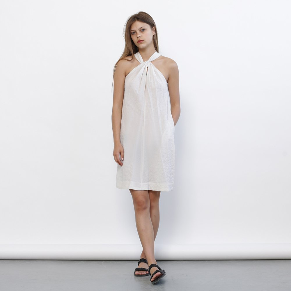 Christmas sale: Tie Neck Dress, Ivory Summer dress,slight a-line cut making it flattering and easy to wear