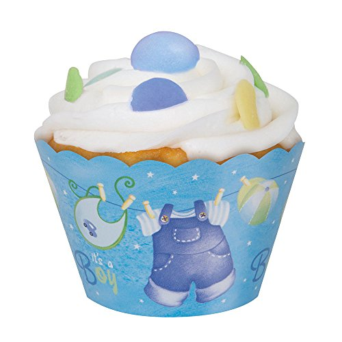Blue Clothesline Shower Cupcake Wrappers