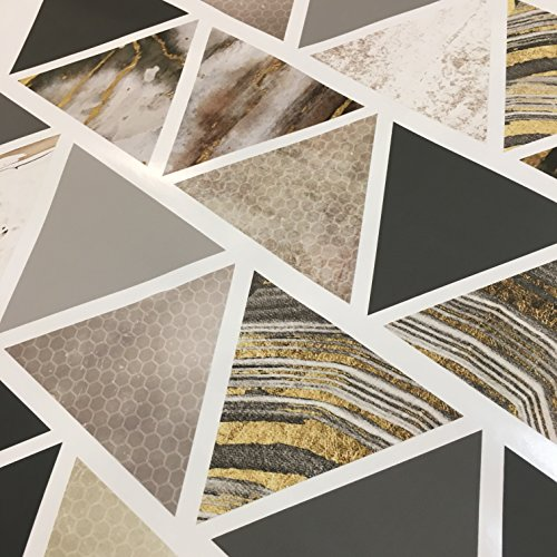 Modern Art Wall Decals, Gold, Gray, Marble, Triangles, Geometric Decals, Repositionable, Fabric Wall Decals Plus 6 Bonus Metallic Gold Triangle Vinyl Decals by Wall Dressed Up (Image #3)