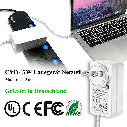 Qyd 45w-laptop-charger replacement magsafe-2-t tip-power-adapter for macbook-air 11''13'' md592ll/a md592b/a md223ch/a a1435 a1465 mqd32 a1466 a1436 8.2ft notebook-power-supply-ac-cord-cable by QYD (Image #1)