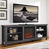 New 70 Inch Wide Television Stand with Fireplace in Charcoal Finish