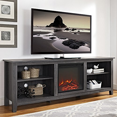 (New 70 Inch Wide Television Stand with Fireplace in Charcoal Finish)