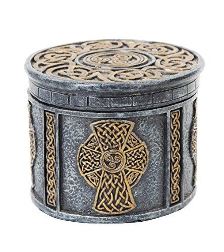 4.13 Inch Engraved Celtic Cross Circular Jewelry/Trinket Box - Celtic Trinket Cross