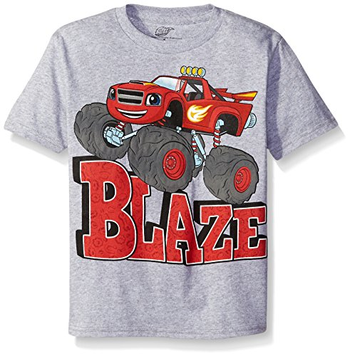 Monsters T Shirts (Blaze and the Monster Machines Little Boys' Short Sleeve T-Shirt Shirt, Athletic Heather, Small/4)