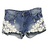 ClothingLoves Women's Floral Lace Patchwork Denim Low Waist Shorts X-Large