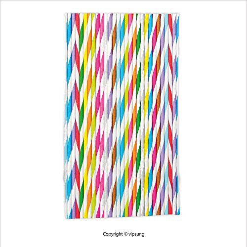 ltra Soft Hand Towel-Abstract Various Colored Straw Lined Vertical Row Cocktail Beverage Drink Stylized Display Multicolor For Hotel Spa Beach Pool Bath (Row Surfboards)
