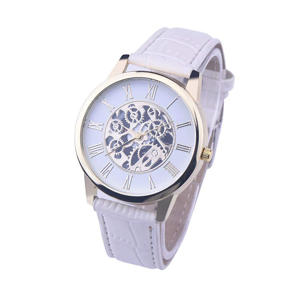 Bestow Reloj Mecšnico de Imitacišn Cinturšn Rome Digital Leather Band Reloj Analšgico de Cuarzo Dial Dial(Blanco): Amazon.es: Ropa y accesorios