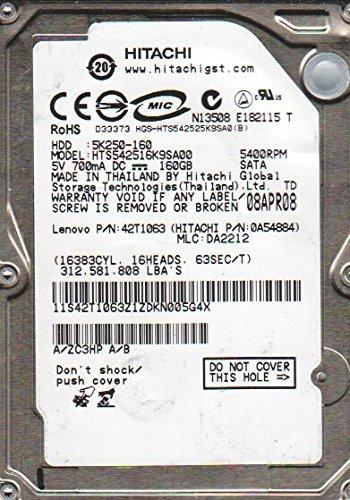 Hitachi HTS542516K9SA00, PN 0A54884, MLC DA2212, 160GB SATA 2.5 Hard Drive