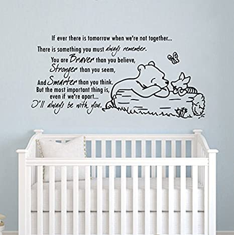 Wall decals quotes winnie the pooh quote braver stronger smarter kids boys girls nursery