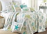 Biscayne Full/Queen Cotton Quilt Set Aqua Coastal