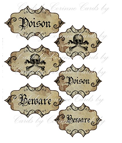 Halloween poison skull labels set of 6 laminated party -