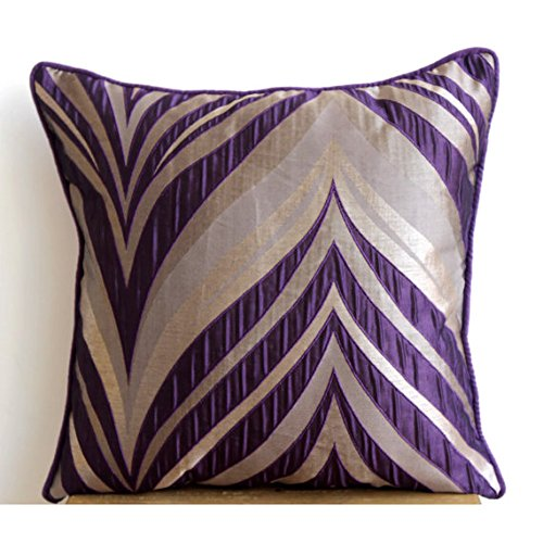 Designer Purple Pillow Cases, Textured Pintucks Pillow Covers,