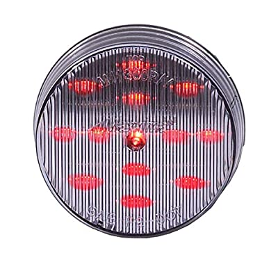 "Maxxima M11300RCL Red 2-1/2"" Round LED Clear Lens Clearance Marker Light: Automotive"
