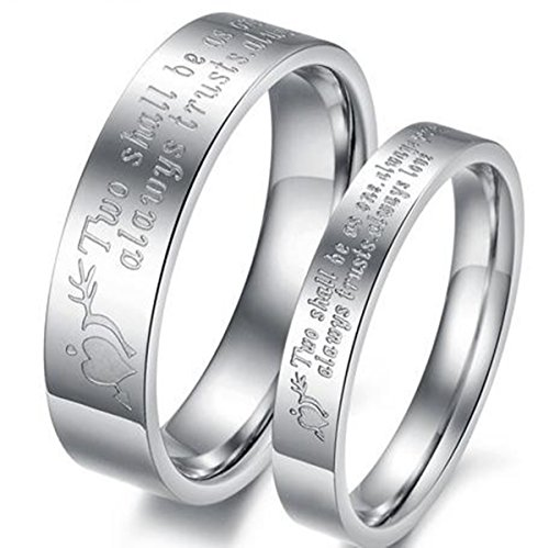 2 Pcs Set Couple Ring Size Stainless Steel Wedding Rings - 8