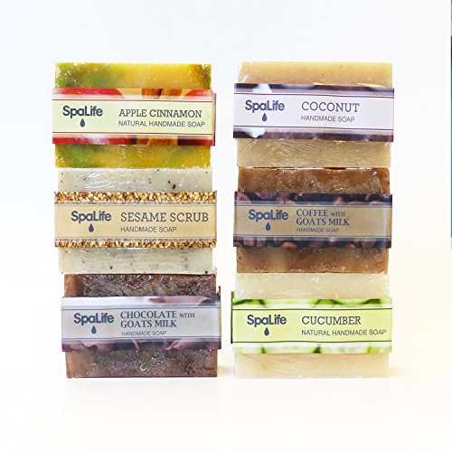 Handmade Herbal Soap Bar - SpaLife Hand Made Soap Set - Handmade - 6 Pack - 3.5oz Each (Natural)