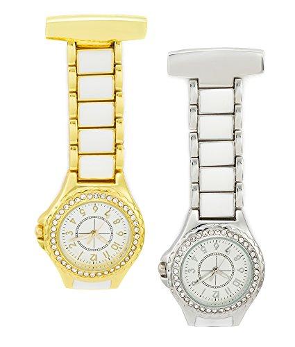 SEWOR Unisex Ceramics & Diamonds Hanging Pocket Watch Gold & Sliver 2pcs With Brand Leather Gift Box