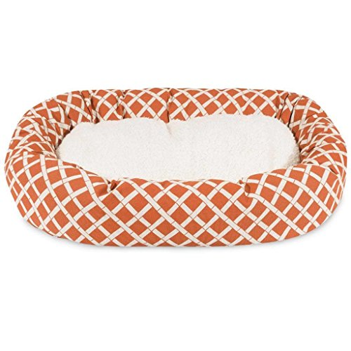 40 inch Burnt Orange Bamboo Sherpa Bagel Dog Bed