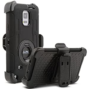 Note 4 Case, Galaxy Note 4 Case, ULAK KNOX ARMOR Heavy Duty Shockproof Protection Hybrid Rugged for Samsung Galaxy Note 4 Case Built-in Rotating Kickstand Belt Swivel Clip Holster Note 4 Case,Black