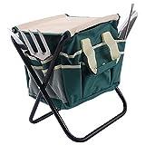 Goplus 7 PCS Garden Tool Bag Set Folding Stool Tools Gardening Stainless Steel Gift ()