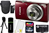 Canon PowerShot ELPH 180 20MP 8X Zoom Digital Camera (Red) + 16GB Card + Reader + Case + Accessory Bundle