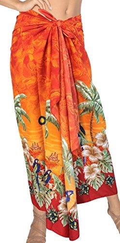 LA LEELA Soft Light Swimwear Women Wrap Sarong Printed 78