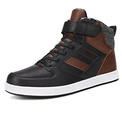 ZQSenLu Men's High Top Sport Fashion Sneakers Strap Casual Ankle Boot Skate Shoes (7.5, (Brown Single Arch)
