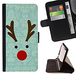 Jordan Colourful Shop - reindeer winter christmas teal For Sony Xperia m55w Z3 Compact Mini - Leather Case Absorci???¡¯???€????€??????&acir