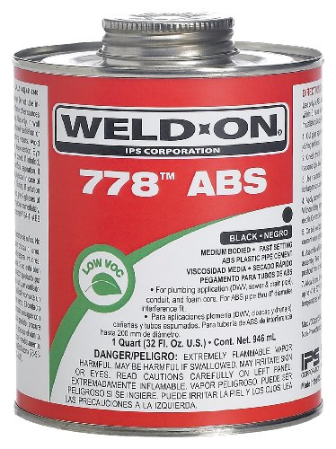 - Weld-On 13536 Black 778 Medium-Bodied ABS Professional Plumbing-Grade Cement, Fast-Setting, Regular-VOC, 1/4 pint Can with Applicator Cap