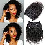 Urbeauty Afro Kinky Curly Clip in Human Hair Extensions for Black Women 10' Short Curly African American Remy Clip ins Real Hair Extensions (#1B Natural Black,10Pcs/100g)