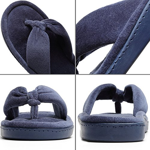 Navy Slippers Flip Foam Women's Cozy Blue Indoor Spa Memory Slip Flops Thong Anti Velvet House HwZxOA