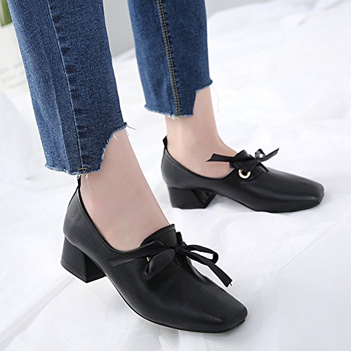 Square Toe T Classic Black Sweet Fashion Penny Loafers Shoes Women Mid JULY Bowknot Comfort Heeled tBBTqAI