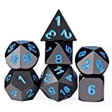 DND Metal Dice, Zinc Alloy Polyhedral Dice Set Black Coated Blue Numbers Role Playing Game Metal Dice Set Dungeons & Dragons Pathfinder RPG Table Games