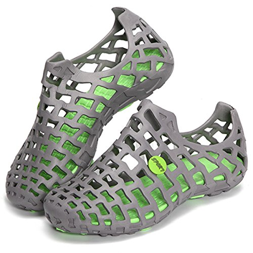 Violet Breathable Beach Hollow Gray amp; Flats Green Size Mesh amp;HS Big Shoes Sandals HTqHwOr