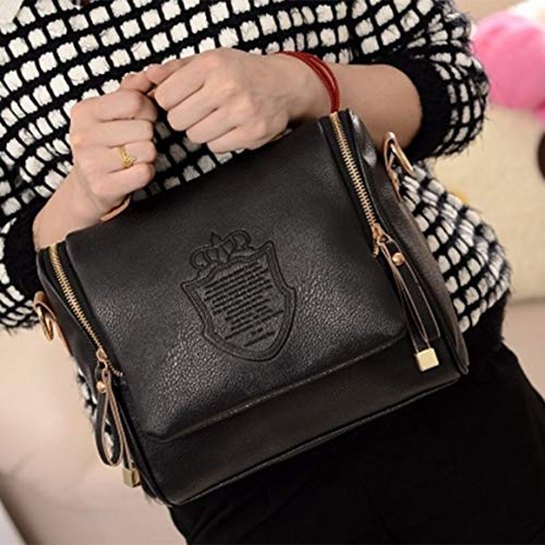 à femme bandoulière couronne Double fermeture cuir sac Delicacydex main la femmes sac mode sac à PU en femmes à glissière Vintage surimpression à HwvvxC7Pq