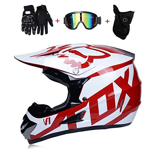 TOKU Adult Motocross Helmet MX Motorcycle Helmet Scooter ATV Helmet Road Race D.O.T Certified Fox with Gloves Windproof Mask Goggle (S, M, L, XL)