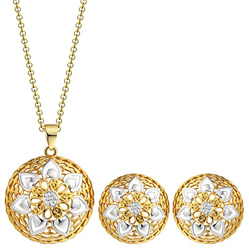 - MOOCHI 18K Gold Plated Hollow Round Leave Pattern Pendant Necklace Jewelry Set