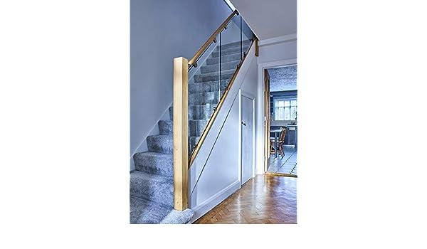 Pasamanos de roble y cristal balaustrada de escalera ((45 grados ...