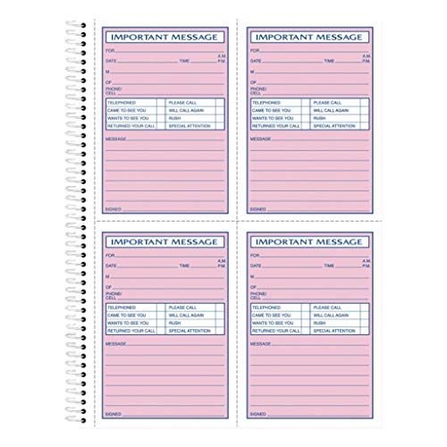 (TOP4010 - Binding : Spiral, Top - Tops Telephone Message Book with Fax/Mobile Section - Each)